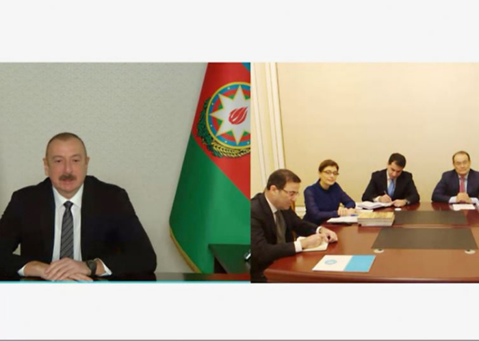 Footage of the video conference in which President of Azerbaijan H.E. Ilham Aliyev received the Secretary General of the Turkic Council